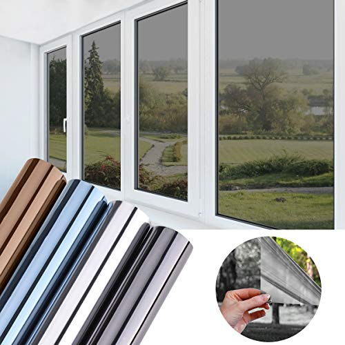 KINLO Folie Spiegel Schwarz-Grau 45x200 cm Sonnenschutzfolie selbstklebend Sichtschutzfolie Fensterfolie Tönungsfolie Sichtschutz Wärmeisolierung 99% UV-Schutz