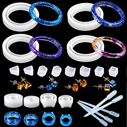 YuChiSX 21 Stück Armreif Silikonform Gießform Resin Form, Ring Armband Resin Anhänger Basteln Gießform, Ring Armband Epoxidharz Formen, Ringform Silikonform