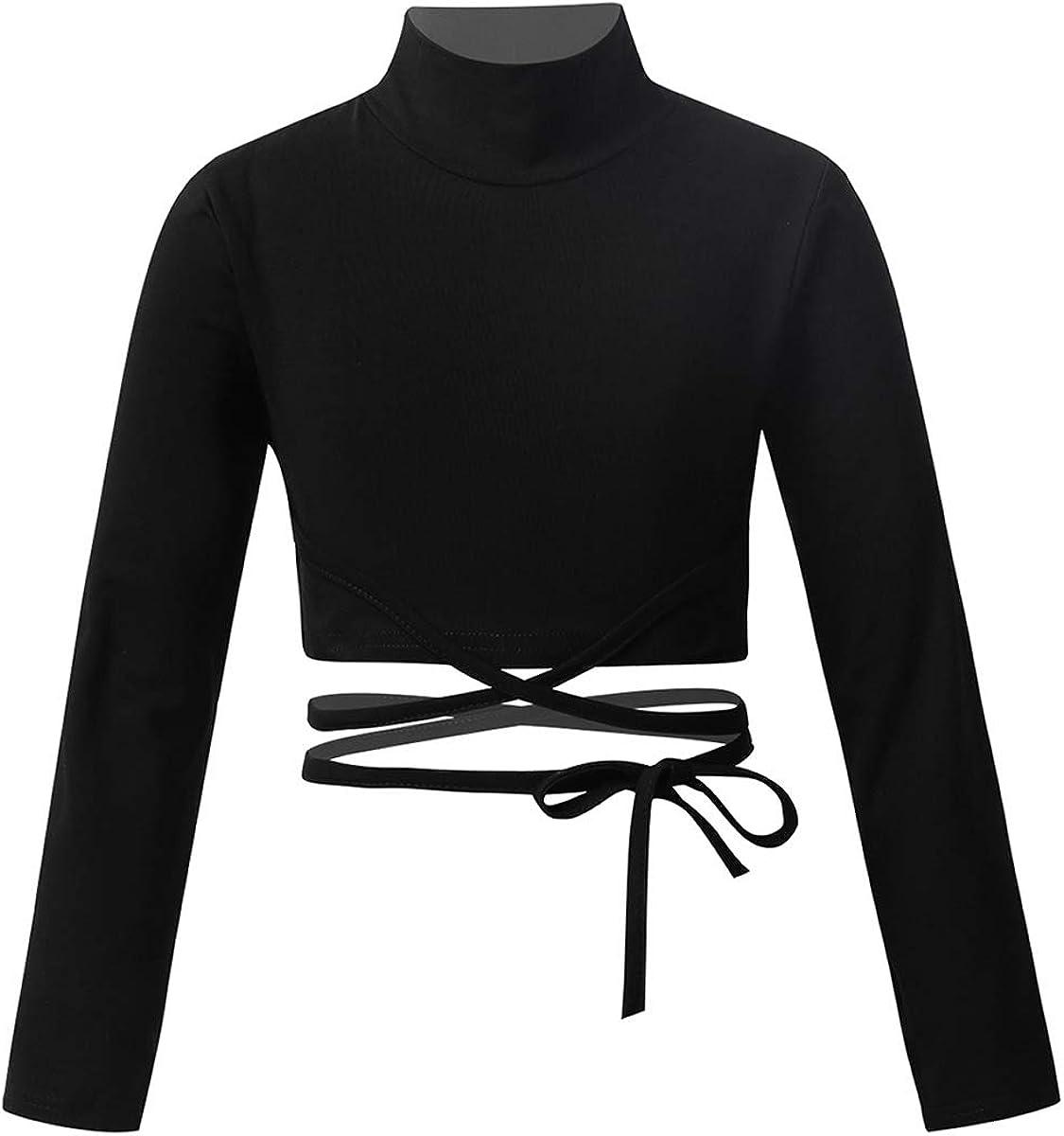 ACSUSS Kids Girls Long Sleeves High Neck Crop Top Ballet Dance Gymnastics Yoga Compression Workout Athletic T-Shirt