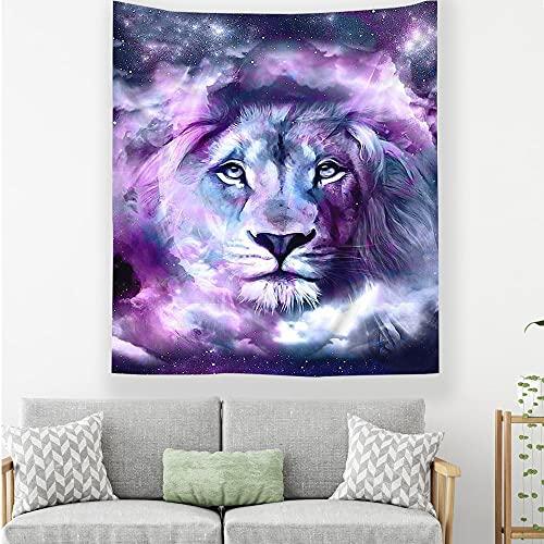 Tapiz colgante de pared león cielo estrellado imagen impresión digital tapiz dormitorio dormitorio decoración del hogar manta A2 180x230cm