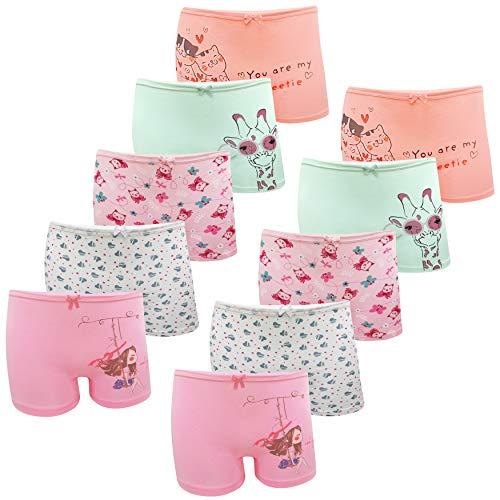 LOREZA ® 10er Pack Mädchen Pantys Boxershorts Unterwäsche aus Baumwolle (104-110, Modell 2)