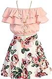 Cold Shoulder Crop Top Ruffle Layered Top Flower Girl Skirt Sets for Big Girl Blush 12 JKS 2130S