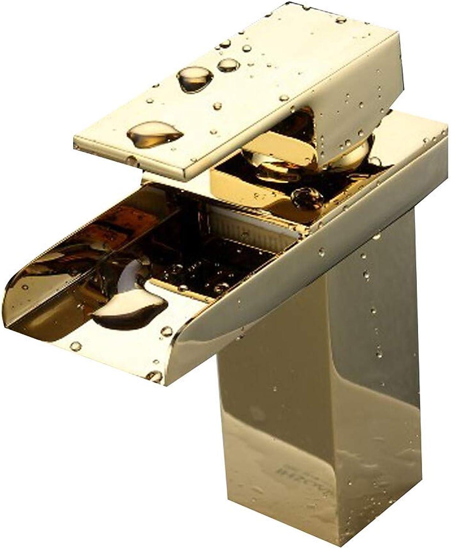 Novopus Bathroom faucet:Bathroom Sink Faucet - Waterfall Ti-PVD Centerset One Hole Single Handle One Hole,1