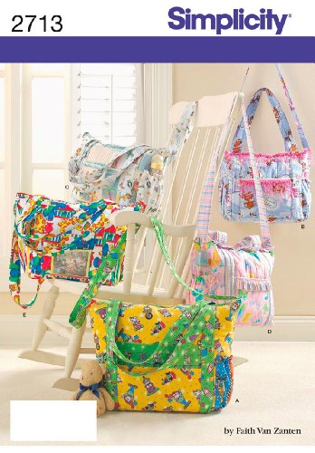 Simplicity Sewing Pattern 2713 Baby Infant Diaper Bag Five Uncut Accessories