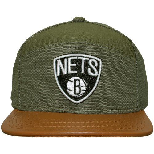 Mitchell And Ness - Casquette 6 Panel Hybrid Homme Brooklyn Nets Canvas Horizon - Green / Brown