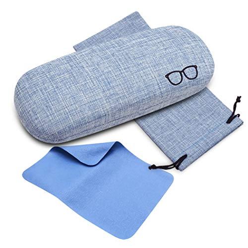 ceydeyjpceydeyjp 超特価セール 眼鏡ケース おしゃれ メガネケース ハードケース 亜麻素材 かわいい シンプル硬いケース 高級メガネケース クリーニングクロス メガネ 拭きクロス 収納袋付き (青)ブルーFree