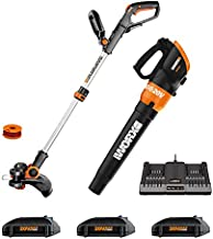 "Worx WG921.1 Cordless 20V 12"" Trimmer and TURBINE 20V Cordless Blower; 3 20V Batteries, and 2-hr Dual Charger included"