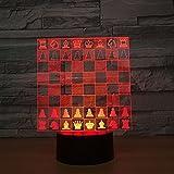 Solo 1 pieza Ajedrez 3D LED Lámpara Lámparas nocturnas Touch Led Usb Lámpara de mesa Lámpara Dormir Decoración para el hogar Luz nocturna para amigos Mayores Regalo