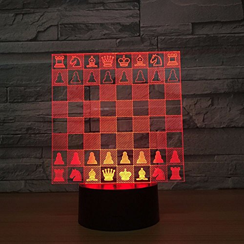 Solo 1 pieza Ajedrez Tablero de ajedrez Decoración del hogar Luz de noche 3d Precioso cambio de 7 colores Lámpara 3D Decoraciones navideñas regalo para luces de la habitación del bebé