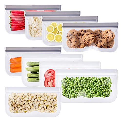 Reusable Snack Bags - 9 Pack Reusable Freezer Bags, Reusable Food Bags for Kids, Leakproof Silicone & Plastic Free for Marinate Meats, Cereal, Sandwich, Snack, Travel Items