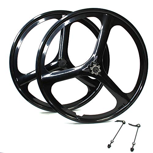 "iMeshbean New 26"" MTB Bike Mag Magnesium Wheels 3-Spoke Set Rim Wheelset 6/7/8/9/10 Gears (6/7 Speed Wheelset)"