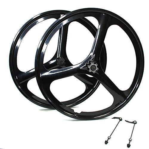 iMeshbean New 26' MTB Bike Mag Magnesium Wheels 3-Spoke Set Rim Wheelset 6/7/8/9/10 Gears (6/7 Speed Wheelset)