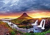 wandmotiv24 Fototapete Island Landschaft, Kirkjufell Berg XL 350 x 245 cm - 7 Teile Fototapeten, Wandbild, Motivtapeten, Vlies-Tapeten Sonnenaufgang, Wasserfall, Abendstimmung M1038