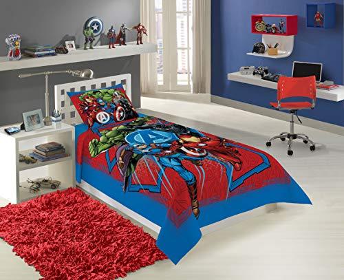 Jogo de Cama Solteiro Estampado Avengers 1,50 m x 2,10 m Com 2 peças