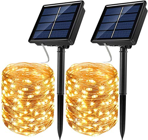 Solar String Lights, 2 Pack 100 LED Solar Fairy Lights 33 ft 8 Modes Copper Wire Lights Waterproof Outdoor String Lights for Garden Patio Gate Yard Party Wedding Indoor Bedroom (Warm White)