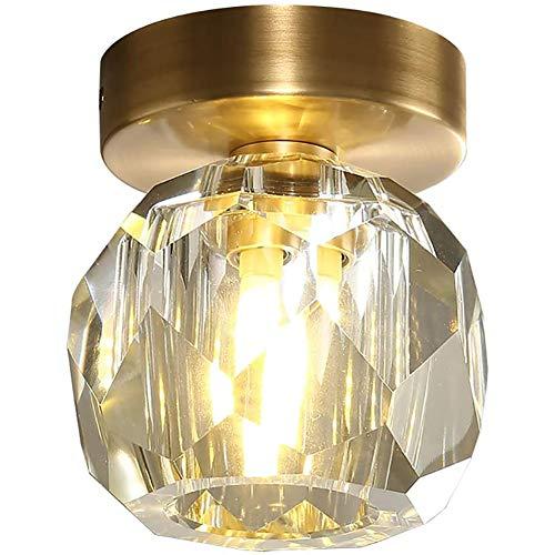 Magic Ape LED Lámpara De Techo para Dormitorio,Esférica Cristal Lámpara De Techo,Latón Cepillado Montaje Al RAS Plafón Led De Techo,para Cocina Entrada Pasillo Fijación De Techo-Dorado 11x12cm