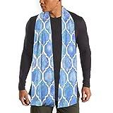 Cornflower azul marroquí patrón acuarela hombres y mujeres invierno largo bufanda chal salvaje suave ancho completo impresión a doble cara