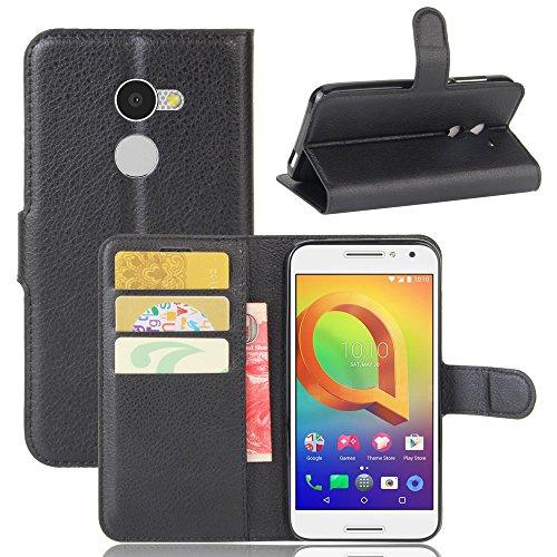 Alcatel A3 Handyhülle Book Case Alcatel A3 Hülle Klapphülle Tasche im Retro Wallet Design mit Praktischer Aufstellfunktion - Etui Schwarz
