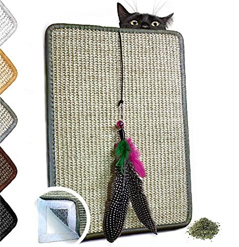 Valkyra - Rascador para Gatos Autoadhesivo, Alfombrilla de sisal para Mueble horizontales y Verticales, Juego de Plumas y Hierba Gata (30 x 40 cm, Verde Claro)