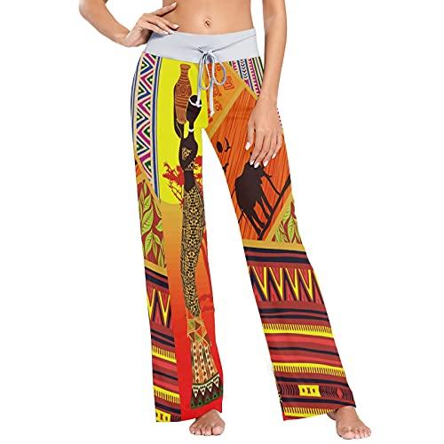 MNSRUU Sunset - Pantalones de pijama para mujer con diseño de elefante, pantalones elásticos informales y de pierna ancha