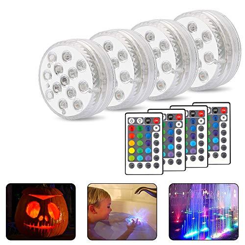 Unterwasser Licht,Vegena 4 Stück 13 LED Unterwasser Licht mit Fernbedienung Multi Farbwechsel Wasserdichte für Schwimmbad, Whirlpool, Teich,Aquarium, Garten, Zuhause (4 Stück)