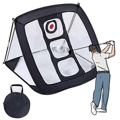 RASHION Golf Chipping Pop Up Golf-Trainingshilfe Golfnetz Golf-Übungsnetz Faltbares Golf Übungsmatte Trainingsnetz para señoras señores niños negro.