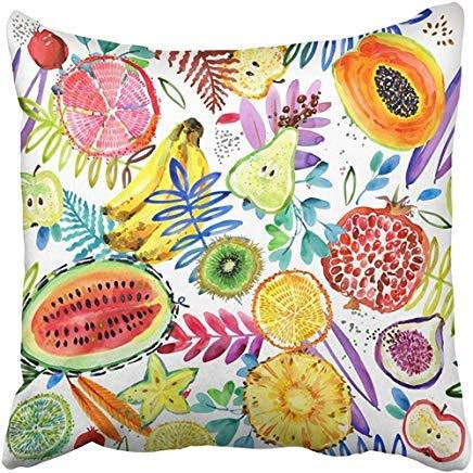 ZGNNN-EU Housses de Coussin colorées Motif Aquarelle Tropicale Jardin Fruits Jungle Nature Plante Vert 50 cm x 50 cm