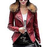 DISSA Chaqueta corta de piel sintética para mujer PA905, Rojo oscuro y invierno., 36