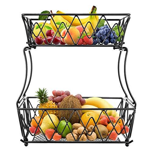 ceuao Obst Etagere, Obstschale Metall zur küche aufbewahrung, 2 stöckig dekorativer Obstkorb, kann als bananenhalter, gemüsekorb(schwarz)