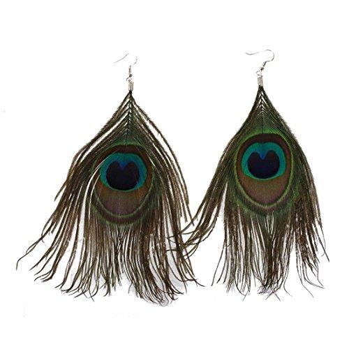 Gesh 1 par de pendientes colgantes de plumas de pavo real multicolor