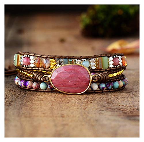 XuuSHA Handmade Natural Stone Wrap Bracelet for Women Colection Mother's Day Birthday Gift (Metal Color : Metallic Leather)