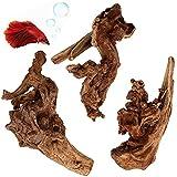 PETWAKEY-ST 3 Pack Aquarium Driftwood, Natural...