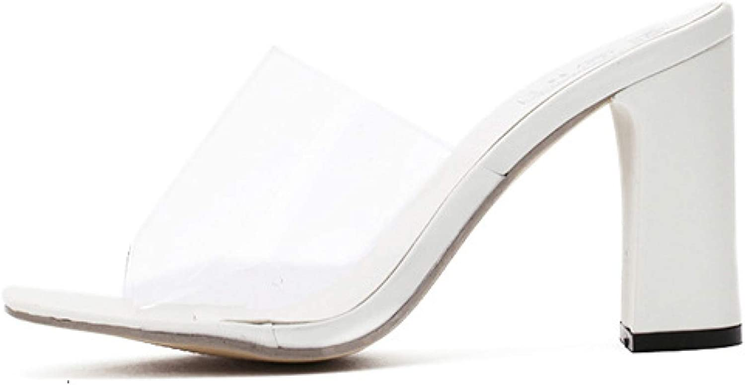 Woman Open Toe Fish Mouth Clear Slide Sandals Chunky High heels Dress Sandals White
