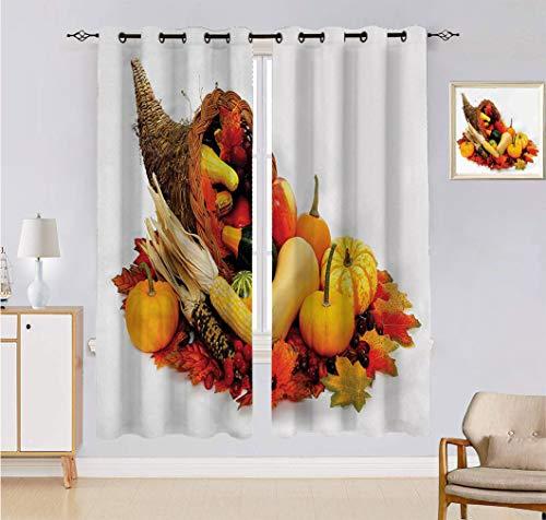 Alandana Harvest Custom-made Curtain, Thanksgiving Photograph with Butternut Squash Pumpkin Corn Cornucopia Window Drapes 2 Panels Set, Each Panel 60' W x 90' L Vermilion Orange Brown
