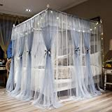Joyreap 4 Corners Post Canopy Bed Curtains for Adults - Grey & White Cozy Drape Netting - 4 Openings Mosquito Net - Cute Princess Style Bedroom Decoration Accessories(Gray,86' W x 78' L,King)