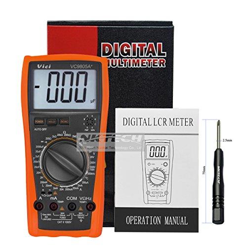nktech Vici VC9805A +–Multímetro digital DMM Temperatura Medidor LCR de capacitancia de inductancia resistencia frecuencia 2000uF AC DC voltaje actual hFE Test con TL-1destornillador