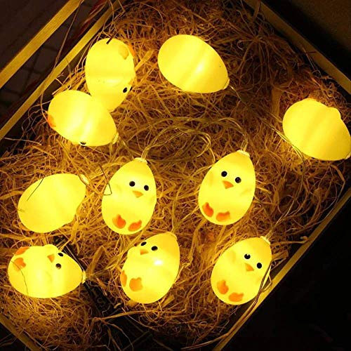 2 Juegos 1,5 M 10 Led Blanco Cálido Lindos Polluelos Amarillos Cadena De Luz Lámpara De Pollo Balcón Dormitorio Guirnalda Navidad Pascua Decoración Polluelo