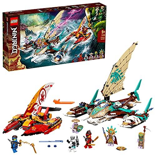 LEGO 71748 Ninjago La Bataille de catamarans avec 4 Jouets de Bateau et Les Minifigurines de Kai, Jay et Zane