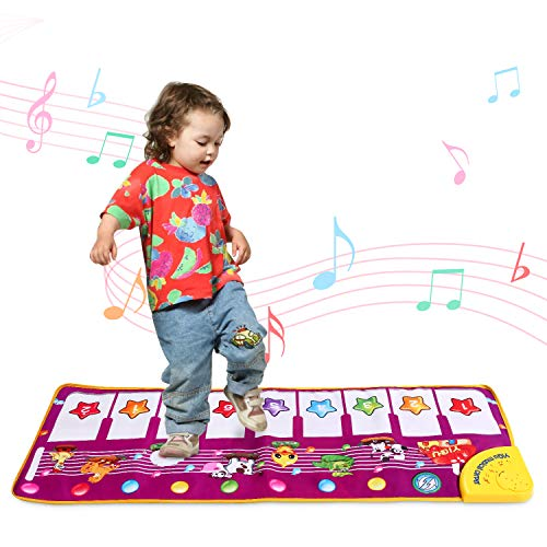 """Toddler Piano Musical Mat for 1-3 Years Old Girls ,39.4"""" Animal Sounds Dance Playmat for Baby Educational Learning Music Toys for 1 2 3 Year Olds"""