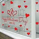 Pegatinas en forma de corazón para San Valentín (para paredes y escaparates)., vinilo, Rojo, Large-Reverse-Print