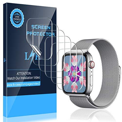 LK 6 Stück Schutzfolie für Apple Watch Series 5/4 40mm und Series 3/2/1 38mm Folie, [Kompatibel mit Hülle] [Blasenfreie] Klar HD Weich TPU Displayschutz