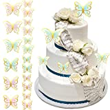 48 Toppers de Pasteles de Mariposas, Toppers de Tartas de Cumpleaños con Mariposas, Mariposas con Antena de Color Mezclado, Decoración de Pared Fiesta Boda