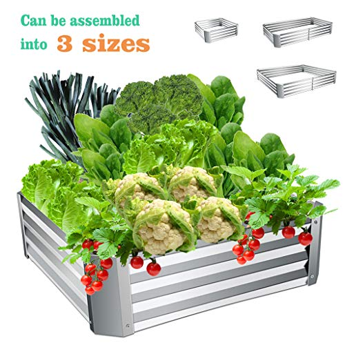 Youngnet Metal Raised Garden Beds Kit Extra Height Elevated Planter Box Steel Large Vegetable Flower Bed Kit, Convertible into 3 Sizes Flowerbed Nursery Box Outdoor Herb