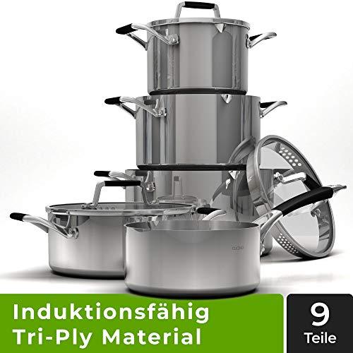 Cucino Pannenset, inductie van Tri-Ply materiaal, eersteklas kookpannenset met hitte-isolerende handgrepen, pannen voor inductie, keramisch, gas en elektrisch, set incl. praktische schenktuit