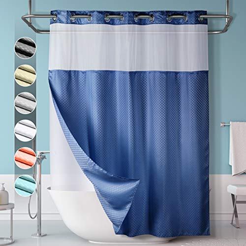 Lagute SnapHook Hook Free Shower Curtain with Snap-in Liner & See Through Top Window | Hotel Grade, Machine Washable & Water Repellent | 71Wx74L, Navy