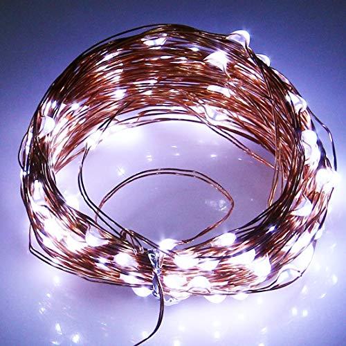 Warm Home decoratie 10 m zonnepaneel waterdicht 100 LEDs 600LM SMD 0603 koperdraad lichte decoratieve strips 1,2 V 600 mAh