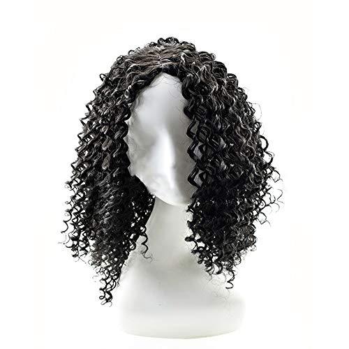 Wudimaoyiyouxian Bouclés perruque Kinky bouclés perruque de cheveux synthétiques for les femmes Wear Daily avec Free Cap (Color : Black)