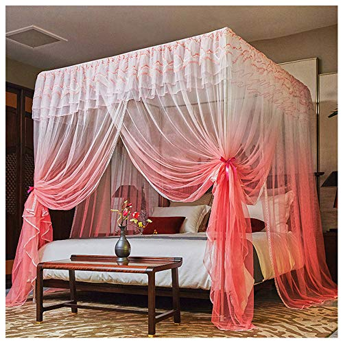 Find Discount GXFC 4 Corners Post Princess Bed Curtain, Stainless Steel Mosquito Netting, 3 Entries,...