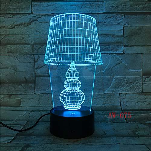 USB LED Nachtlicht Lotus 3D Urlaub Tischlampe Schalter Laterne Touch Dekoration 8 Regler