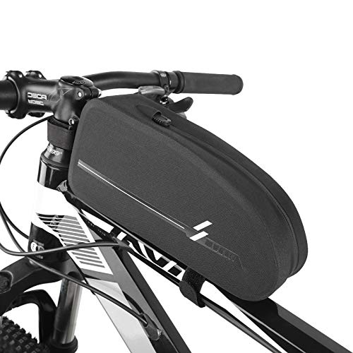 Bike Top Tube Bag Bicycle Front Frame Energy Bag Waterproof Cycling Accessories Pack Fuel-Tank Bag Bike Phone Bag Pouch 840D for Riding Mountain Road Racing Touring Triathlon Aerodynamic Hybrid Bike